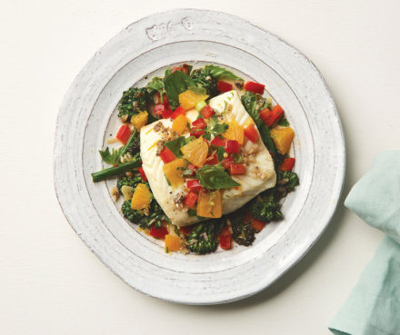 Mediterranean Citrus Poached Halibut